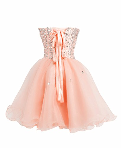 FAIRY COUPLE Trägerlosen Cocktail Straßstein Kleid D0147 Lachs