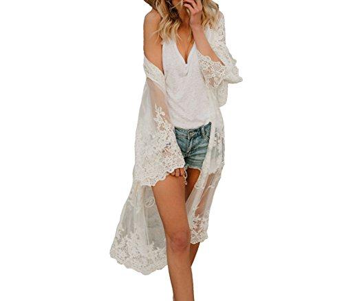 Flyself Damen Bikini Cover Up Blumenspitze-Häkelarbeit Kimono Cardigan Lange Spitze Maxikleid Boho Badeanzug Bedecken Pareos Strandkleid Vertuschung -