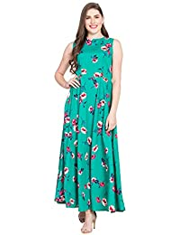 Rudraaksha Floral Printed Maxi Dress for Women