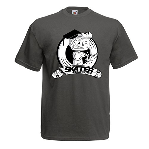 Männer T-Shirt Professionelle Skate-Akademie Graduierung - Für Skater - Skateboard - Longboard, Geschenke für den Skater (Large Graphit Mehrfarben)