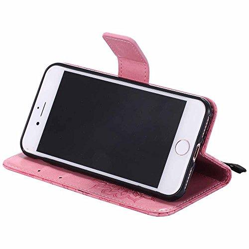 Coque iPhone 8 [Gratuit Protecteur D'écran], Dfly [Datura Fleurs de Motif] [Stand de Portefeuille] [Fermeture Magnétique] Protecteur Coque Ultra Mince PU Cuir Etui Fente avec Carte Cas pour Apple iPho Rose