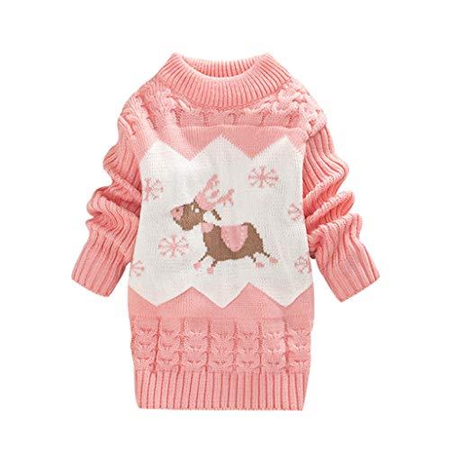 LEXUPE Baby Kleidung Set Mädchen Weihnachtsoutfit Baby Kleid Tütü Bodys Strampler Stirnband Beinwärmer Schuhe(Rosa,110/18) -