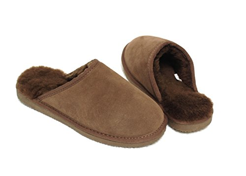 Lammfell Pantoffel Slipper Damen Hausschuhe mit Australischen Lammfell, Braun mit Braunen Fell mit Comfort Sohle - Sehr Warm (39)