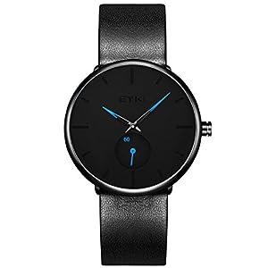 Alienwork Eyki Armbanduhr für Herren Damen mit kleine Sekundenanzeige