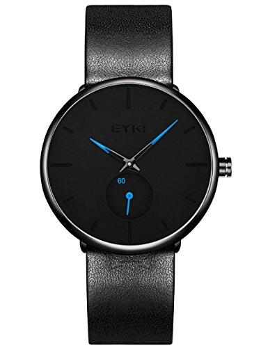 Alienwork Herren Damen Armbanduhr Quarz schwarz mit Lederarmband Ultra-flach dünn Klassik