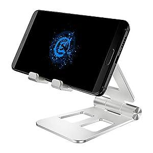 GameSir Handyhalterung Halterung Tablet Ständer Aluminium Tisch Handy Halter für Samsung S10/S9/S8, Huawei P20Pro/P10/Mate10, iPhone XS/XR/X, Switch usw. Silber