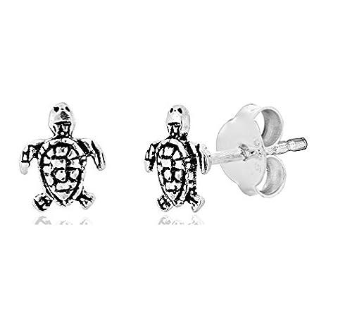 DTPsilver - Damen - Ohrringe 925 Sterling Silber Klein Schildkröte