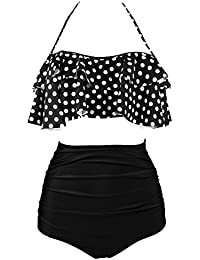 30c1076806 FIYOTE Womens Falbala High Waisted Padded Bikini Set Swimwear