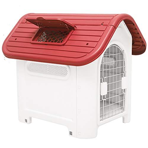 JOYZD Zwinger Hundehütten Zwingerabdeckungen Hundehütte Dog House Outdoor Winter Pet House,Haustierzimmer mit Türfenster, Hundehütte aus Kunststoff für drinnen und draußen, tragbare Hundehütte