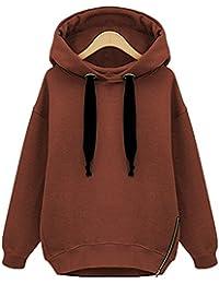 Zarlena Damen Hoodie Kapuzenpullover Sweatshirt Reissverschluss Side Zipper mehrere Farben und Größen