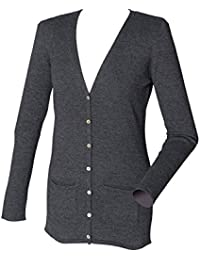 Henbury Womens V Neck Cotton Button Cardigan