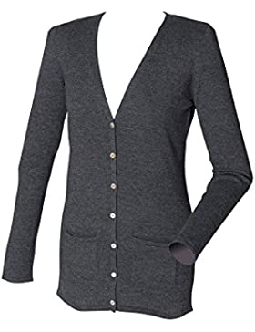 Henbury Womens V Neck Cotton Button Cardigan