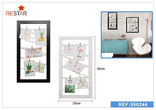 Dabuty Online, S.L. Marco para Pared Decoracion con Cuerdas para Colgar Fotos. Color Blanco. Medidas 25x50cm.