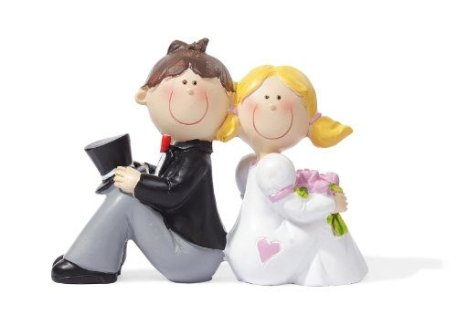 Hochzeitspaar lehnt aneinander Hochzeit Figur Deko Brautpaar 8 cm