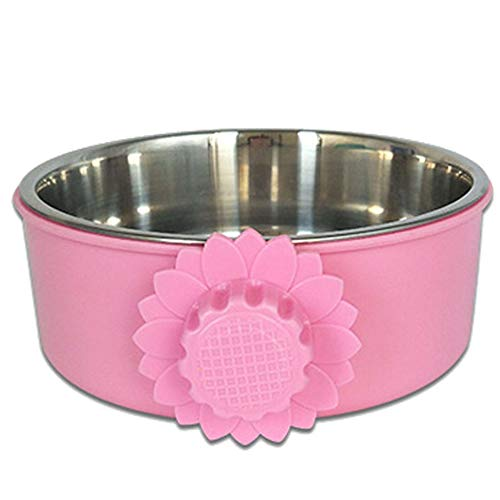 XIAOXUE Dog Bowl Edelstahl Pet Supplies personalisierte Hängekugelschale Hängepartie gedickten Durable Cat Dog Feeder Fixed Bowl,Pink,L -