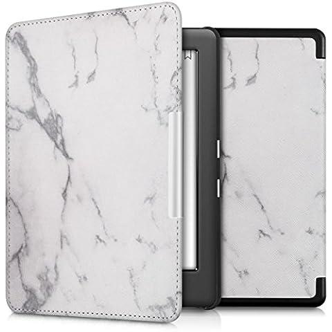 kwmobile Elegante funda de cuero sintético para el Kobo Glo HD (N437) / Touch 2.0 en Diseño mármol blanco negro