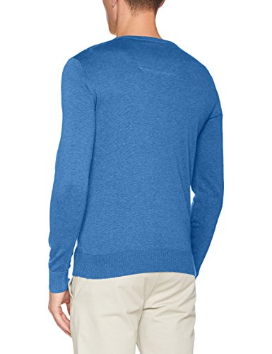TOM TAILOR Herren Pullover Basic Crew-Neck Sweater Blau (Swimming Pool Blue Melange 6755)