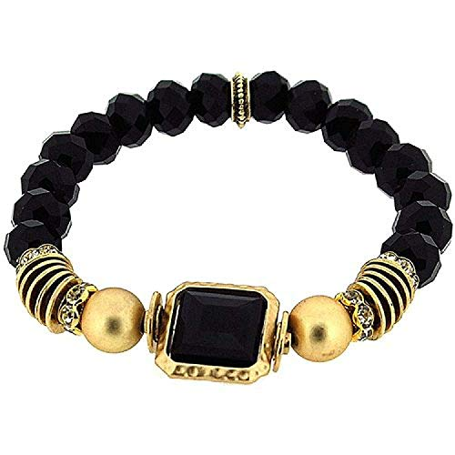 FJ1099 - PARK LANE Damen Elastik-Bettelarmband, samtschwarze und goldene Perlen mit Cubic Zirkonia