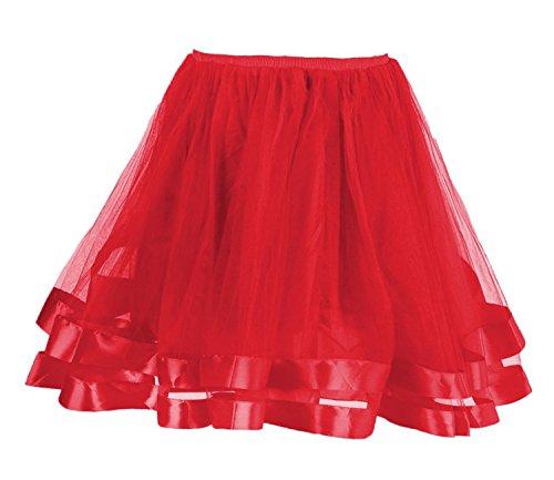 Facent Damen Kurz Tüllrock Tutu Minirock Tütü Ballerina Tüll Rock Kleid Reifrock Rot