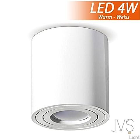 Aufbauleuchte Deckenleuchte Aufputz MILANO 4W LED Warmweiss GU10 Fassung 230V [rund, weiss, schwenkbar] Deckenleuchte Strahler Deckenlampe Würfelleuchte CUBE Kronleuchter aus Aluminium