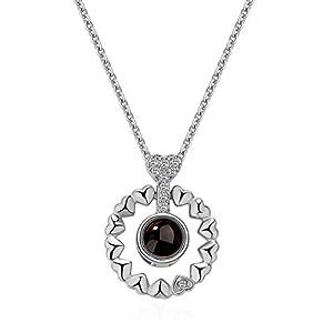 QueenDer Runde Halskette Liebe Speicher Nanotechnologie Zirkon Projektive Anhänger 100 verschiedene Sprachen Ich liebe U Halskette Valentinstag Geschenk