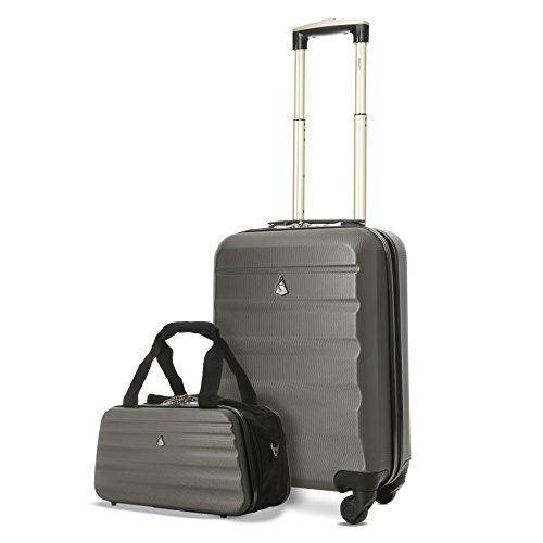 Aerolite - Trolley Bagaglio a mano da cabina in ABS guscio duro e 4 ruote + Borsa 35x20x20 cm (Entrambe in cabina)