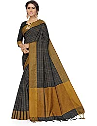 Anni Designer Women's Black Color Tussar Silk Checkered Printed Saree With Blouse Piece (SANATHI BLACK)