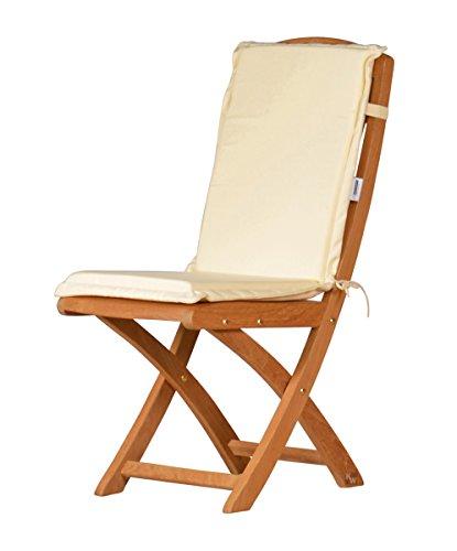 Naturweiße Sitzauflage für Garten-Stühle & Klappstühle, 88 x 40 cm | Premium Polster-Auflage aus lichtechtem Dralon ✓ Maschinen-waschbares Stuhl-Kissen für Gartenmöbel ✓ Höchster Sitzkomfort als Sitzkissen für Niedriglehner