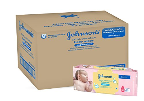 Johnson's Baby Extra Sensitive Fragrance Free Wipes – Pack of 12, Total 672 Wipes 41vAYq2 2BaRL