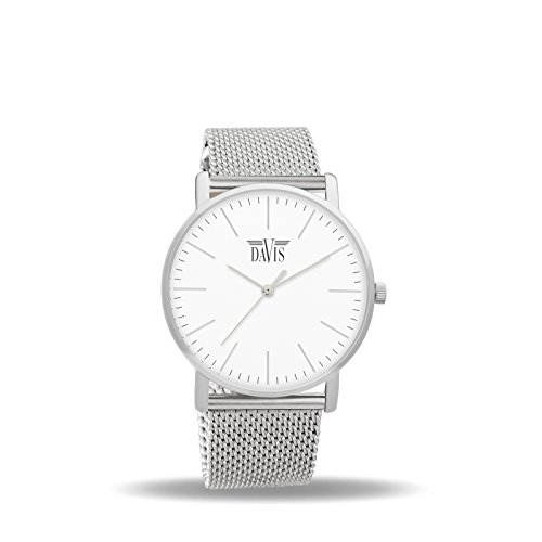 Davis 2050 - Womens Design Watch Classic Ultra Thin Case White Dial Mesh Milanese Strap