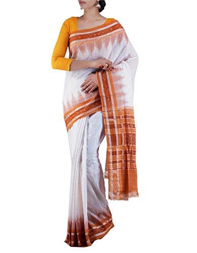 Unnati Silks Women White-Brown Pure Handloom Sambalpuri Cotton Ikat Saree