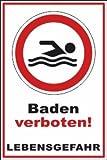 Schwimmer / Angeln Schild -196s- Lebensgefahr 29,5cm * 20cm * 2mm, mit 4 Eckenbohrungen (3mm) inkl. 4 Schrauben