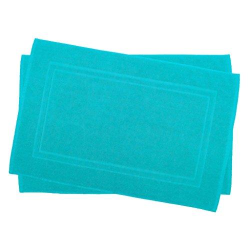 Julie Julsen 2er Pack 50 x 80 cm Badvorleger in Premium Qualität 900 gm2 in aktuellen Farben und 4 Größen aus Baumwolle Badematte Badteppich Duschvorleger Design Doppel Rahmen Türkis