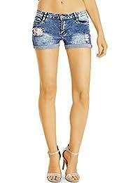 Bestyledberlin Damen Denim Hotpants, Mini Jeans Shorts, Used Look Jeansshorts, Aufgerissene kurze Hosen j28k