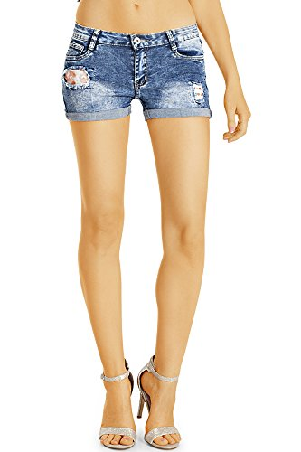 Bestyledberlin Damen Denim Hotpants, Mini Jeans Shorts, Used Look Jeansshorts, Aufgerissene kurze Hosen j28k 26