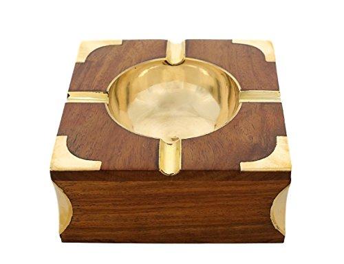 Hecho mano madera forma cuadrada cenicero fabricado