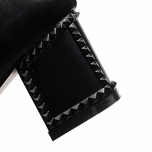 AgooLar Damen Rund Zehe Blend-Materialien Reißverschluss Hoch-Spitze Stiefel Schwarz