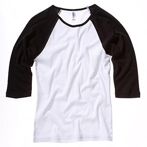Bella Canvas Raglan T-shirt manches 3/4 contrastées pour femme - Multicolore - Blanc/noir - S