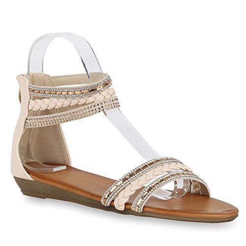 Damen Keilabsatz Sandalen | Riemchensandalen Strass | Sandaletten Wedges Glitzer | Blumen Metallic Flats | Sommerschuhe Creme