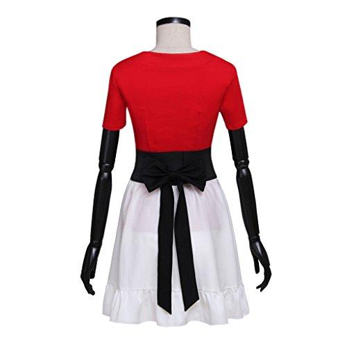 Cosplayitem Femmes Filles Cosplay Robe Jupe Vintage Robe Fantaisie Style Japonais Jeux Danse Manches courtes Rouge Blanc Rouge et Blanc