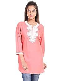 Gaurangi Women's Embroidered Designer Pink Kurti Top ,Rayon By Aditya Birla Tunic Kurta
