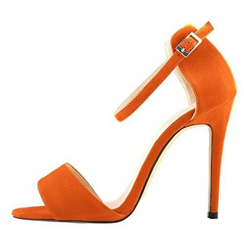 Oasap Femme Sandales A Talons Hauts Bride Cheville Talons Aiguilles Elégant Orange