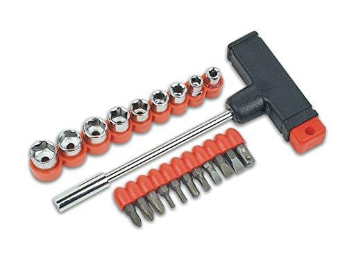 """Brüder Mannesmann Werkzeug Mannesmann T-Griff mit Bits + 1/4\"""" Steckschl-einsätzen, 22-tlg, M 148-KOMBI"""