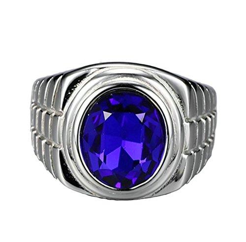 AmDxD Schmuck Herren Ringe Edelstahl (mit Gratis Gravur) Oval Blau Zirkonia Ehering Silber Größe 67 (21.3) (Gold Claddagh-ring Mit Opal)