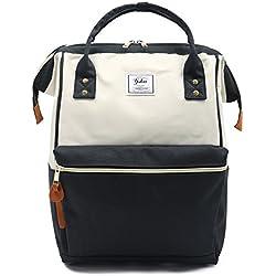Oflamn Mochila para mochila portátil Bolsa de escuela de lona Unisex Vintage Daypack para hombres y mujeres, colegio y niños (3.0 black/white)