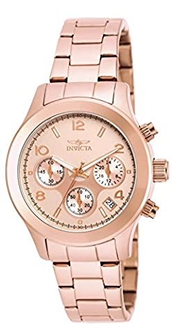 INVICTA Angel Women's Quartz Watch with Rose Gold Dial Chronograph Display and Rose Gold Plated Stainless Steel Bracelet -
