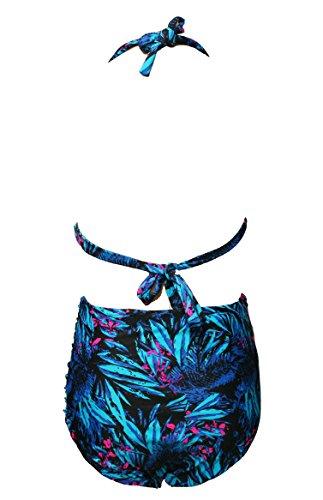 BSLINGERIE® Sexy Damen Retro Bademode Übergröße Halfter Bikini Set Blauer Wald