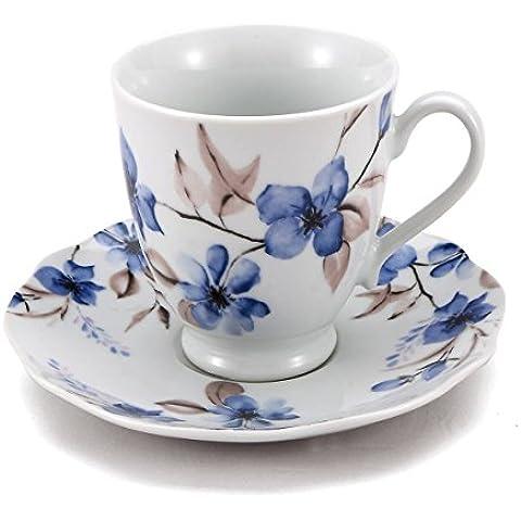 Brunchfield Kingston - Set 4 piezas para té en en porcelana, 200 ml