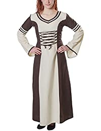 Medieval Dress with Contrasting Stripes Cotton Linen Natural Brown