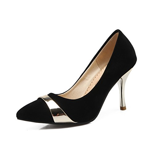balamasa Damen Fashion cone-shape Ferse sortiert Farbe nachgeahmt Leder pumps-shoes, Schwarz - schwarz - Größe: 35 -